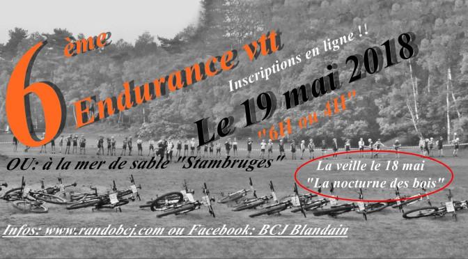 Endurance VTT BCJ 2018 à la Mer de Sable à Stambruges - 4 ou 6 heures en équipes ou en solo